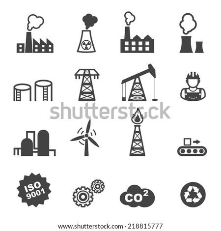 industry icons, mono vector symbols - stock vector