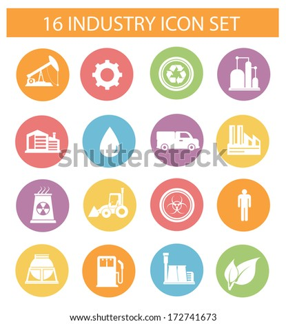 Industry icons on white background,colorful version,vector - stock vector