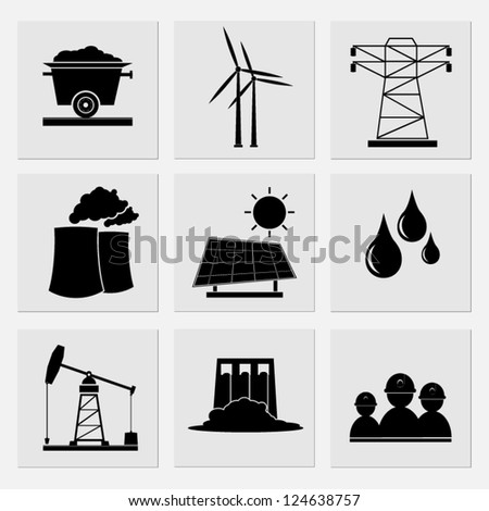 Industry icons set - stock vector
