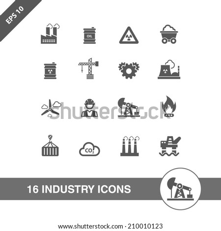 Industry icons set. - stock vector