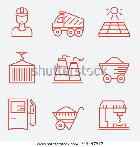 Industry icons, thin line style, flat design - stock vector
