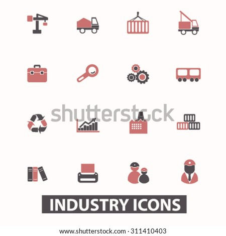 industry, industrial, factory icons, signs, illustrations set, vector - stock vector