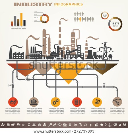industry infographics template, set of industrial icons - stock vector