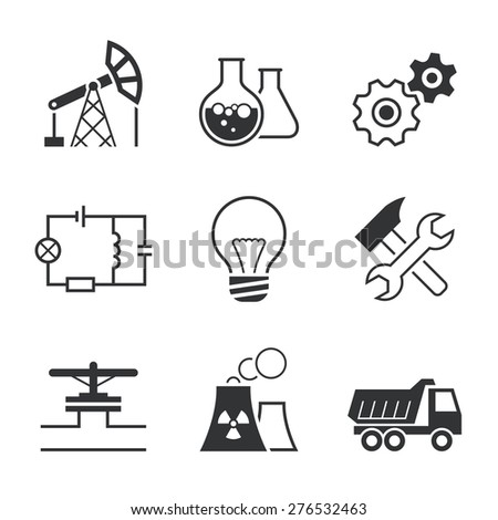 Industry simple vector icon set - oil extraction, chemistry, mechanics, electronics, lamp, assembling, pipe line, factory and truck - stock vector