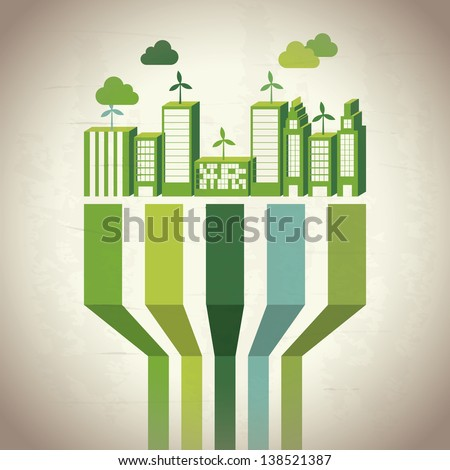 Industry sustainable development over beige background. vector - stock vector