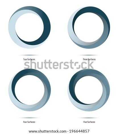 Infinite loop vector logo design elements. Impossible circle symbols with two to five surfaces. - stock vector