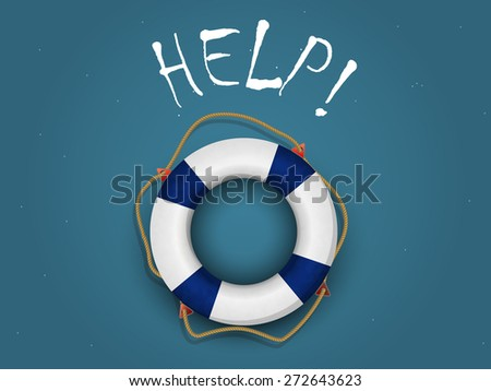 inflatable life buoy on blue-green background with the words help! - stock vector
