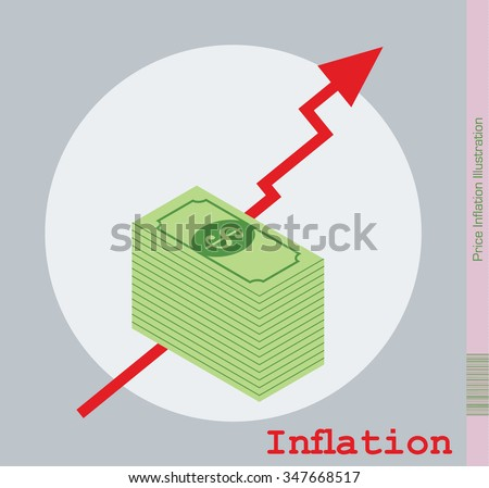 Inflation Illustration. Isometric Design with red rising Arrow. - stock vector