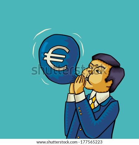 Inflation in the euro area (euro Inflation, euro crash, euro crisis). Vector illustration. - stock vector