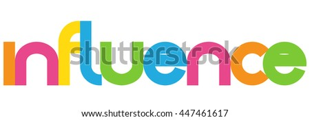 influence words overlapping vector letter icons - stock vector