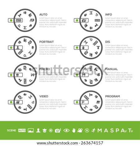 Info Camera mode dial Set: Auto mode, Program mode, Manual mode, Portrait mode, Sports mode, Landscape mode, Macro mode... in vector. White background. - stock vector
