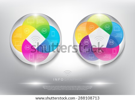 Info graphic circle elements set. Coloured and glossy on the white panel. Wireless technology. 4, 5 parts concept. Vector illustration. Eps 10 - stock vector