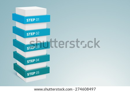 Info graphic Column With 5 Steps 2  - stock vector