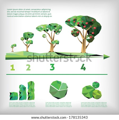 info-graphic of ecology low poly style - stock vector