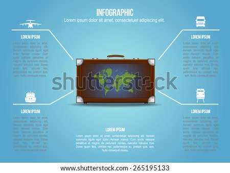 Info graphic Suitcase with freight transportation end world map - stock vector