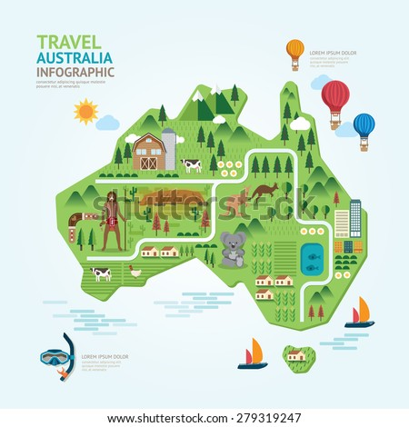 Info graphic travel and landmark Australia map shape template design. country navigator concept vector illustration / graphic or web design layout. - stock vector