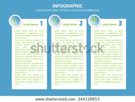 Info graphic with 3 growing sprouts for banner, diagram, number options, web design, documents etc - stock vector
