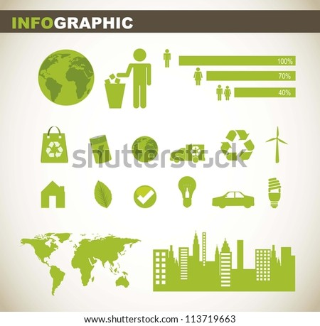 info graphic with people sign and green elements. vector illustration - stock vector