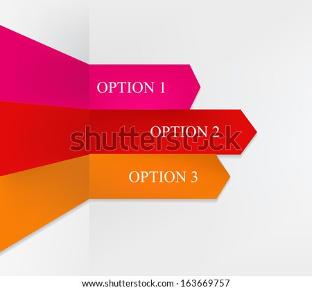 Info-graphic with three origami option arrows - red, pink, orange - stock vector