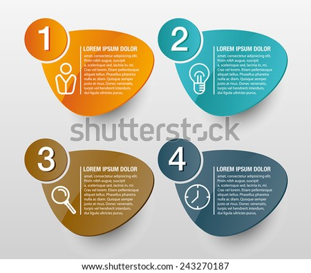 Info graphics vector design template with digits and signs. Oval, colorful shape. - stock vector
