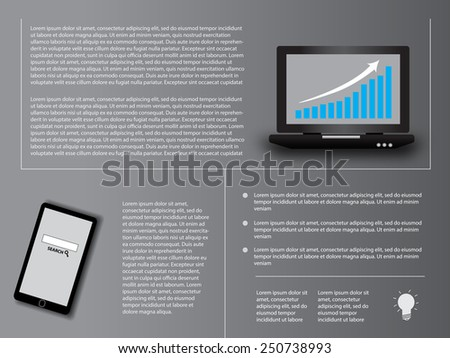 info-graphics with phone and laptop - stock vector