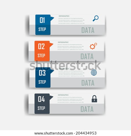 infograohics design element label or banner  can be used for workflow layout numbered banners step up option graphic or website layout vector - stock vector