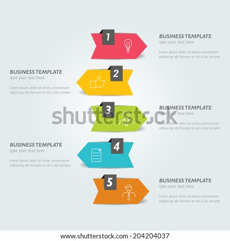 Infographic arrow. Step by step tutorial. - stock vector