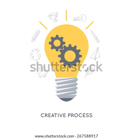 Infographic background. Idea generation process. Modern flat design template.  - stock vector