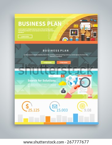 Infographic business brochures banners analytics, strategy. Data visualization. Web banners marketing materials, flyers, presentation templates. Business plan strategy with touchscreen presentation - stock vector