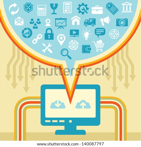 Infographic business concept - internet download and upload content with icons.  - stock vector