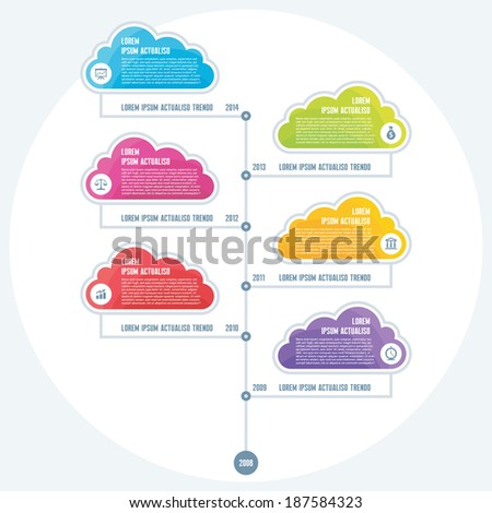 Infographic Business Concept of Timeline with colored clouds for presentation - vector design scheme. - stock vector