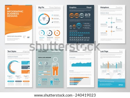 Infographic business elements and vector design illustrations. Use in website, corporate brochure, advertising and marketing. Pie charts, line graphs, bar graphs and timelines. - stock vector
