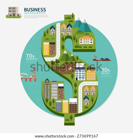 Infographic business money dollar shape template design.business success concept vector illustration - stock vector