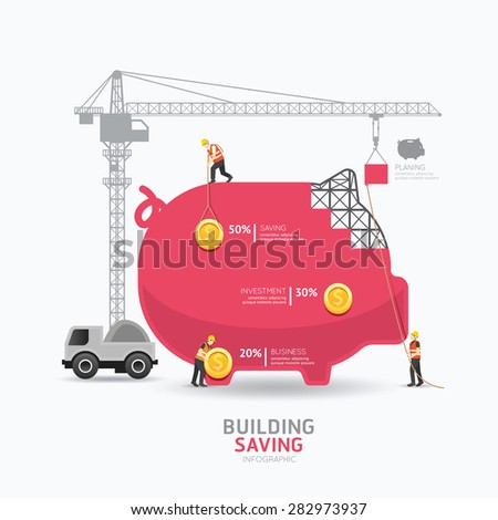 Infographic business piggy bank shape template design.building to success concept vector illustration / graphic or web design layout. - stock vector