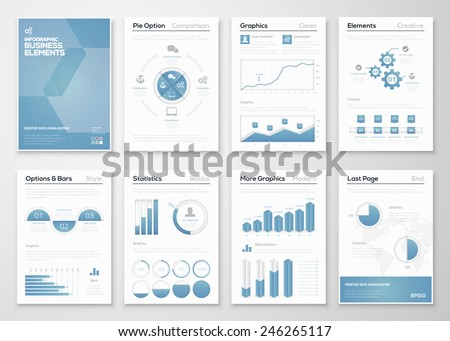 Infographic business vector elements for corporate brochures. Modern styled graphics for data visualization. Use in website, flyer, corporate report, presentation, advertising, marketing etc. - stock vector