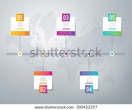 Infographic - can be used as options or five steps in a process or as a timeline. - stock vector