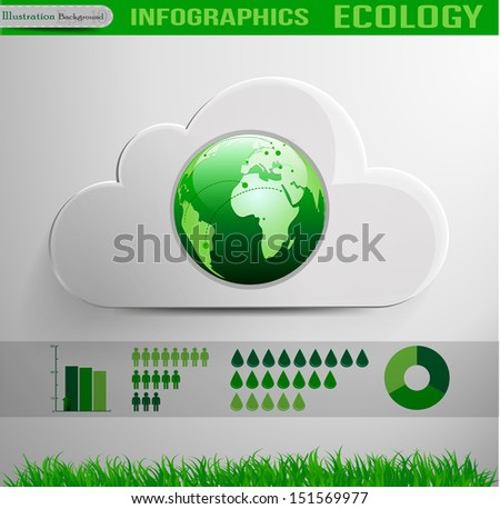 Infographic cloud ecology design  - stock vector