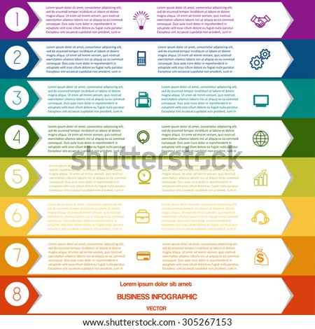 Infographic Colourful arrows template from white strips with text areas on eight positions - stock vector