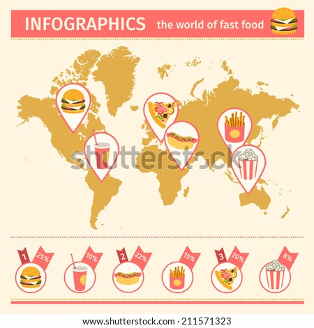 Infographic. Consumption of fast food around the world. vector illustration - stock vector