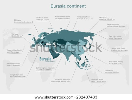 infographic continent Eurasia blue and gray - stock vector