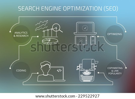 Infographic contour concept illustration of SEO. 4 items described on unfocused background. Text outlined. Free font Exo2 and Open Sans - stock vector