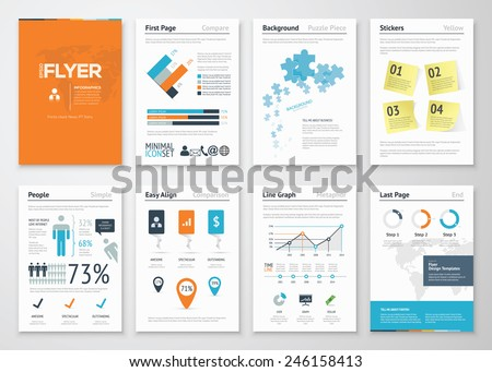 Infographic corporate elements and vector design illustrations. Use in website, corporate brochure, advertising and marketing. Pie charts, line graphs, bar graphs and timelines. - stock vector
