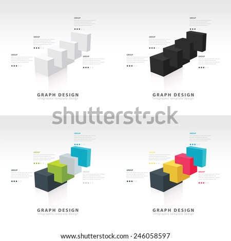 infographic 3d Graph of the diagramme consisting of several cubes set - stock vector