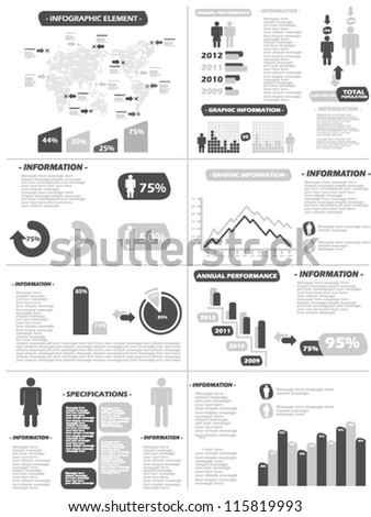 INFOGRAPHIC DEMOGRAPHICS NEW STYLE GREY - stock vector
