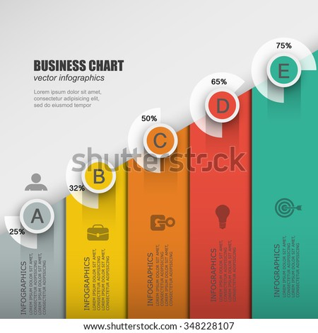 Infographic design business process with 5 options, parts, steps progress. Can be used for workflow layout, diagram, number options, web design. - stock vector