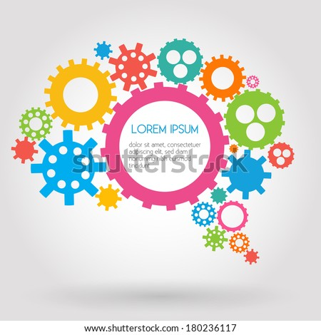 Infographic Design Gears, Brain, Idea, Creativity, Thinking  - stock vector