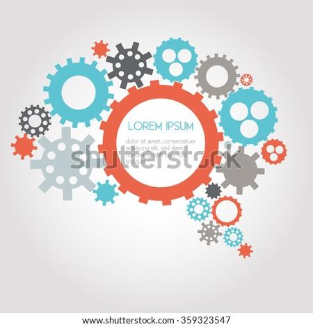 Infographic Design Gears, Brain, Idea, Creativity, Thinking - vector eps10 - stock vector