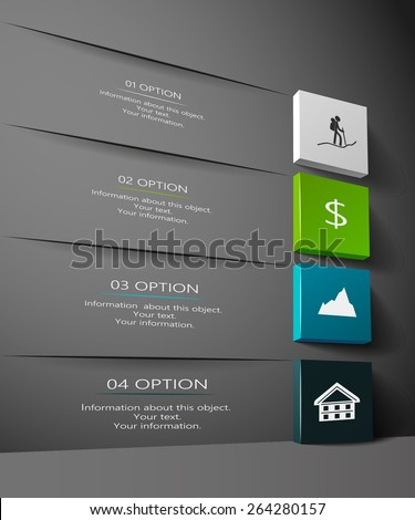 Infographic design in 3D on a black background - stock vector