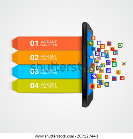 Infographic Design. Smartphone applications business concept. Vector illustration - stock vector