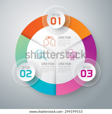 Infographic design template and marketing icons, Business concept with 3 options, parts, steps or processes. Can be used for workflow layout, diagram, number options, web design.    - stock vector